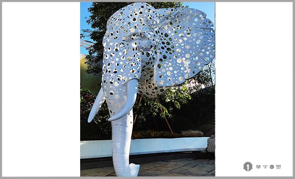 厦门金茂府不锈钢镂空烤漆大象雕塑