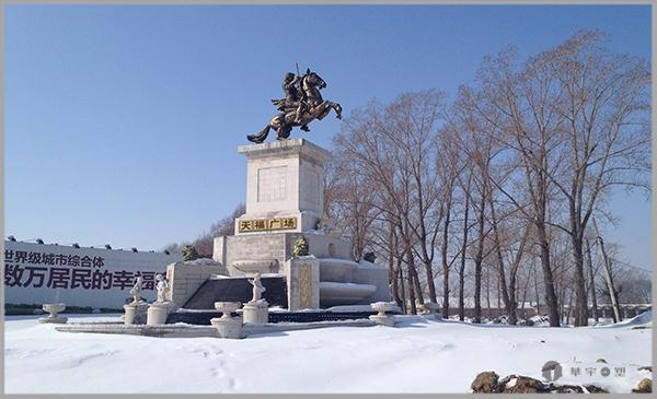佳木斯广场铸铜飞马雕塑