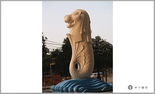 君临闽江玻璃钢仿铜狮身鱼尾大象景观雕塑
