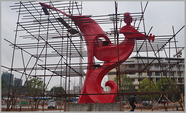 沙县仙州酒店不锈钢烤漆飞天神女广场雕塑