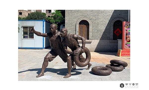 福州古代人物石雕雕塑摆台展示